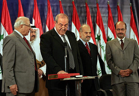 Pictured left to right: Chief Justice Mahdi Mahmood, President Ghazi Ajil Yawer, Prime Minister Iyad Allawi, Vice President Ibrahim Jafari and Deputy Prime Minister Barham Salih