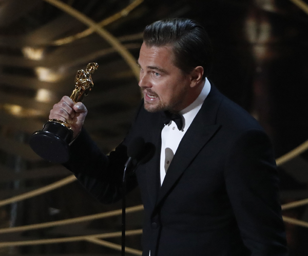 "Leonardo DiCaprio wins the lead actor Oscar for the film ""The Revenant."""