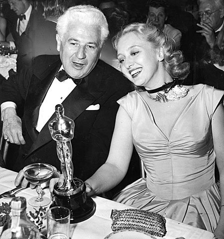 Celeste Holm and director John Stahl at the Mocambo nightclub after her win.