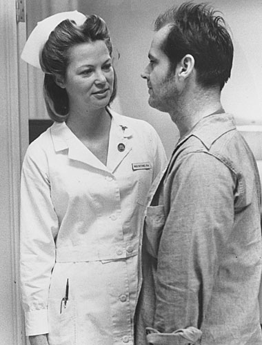 "R.P. McMurphy (Jack Nicholson) and Nurse Ratched (Louise Fletcher) in ""One Flew Over the Cuckoo's Nest"""