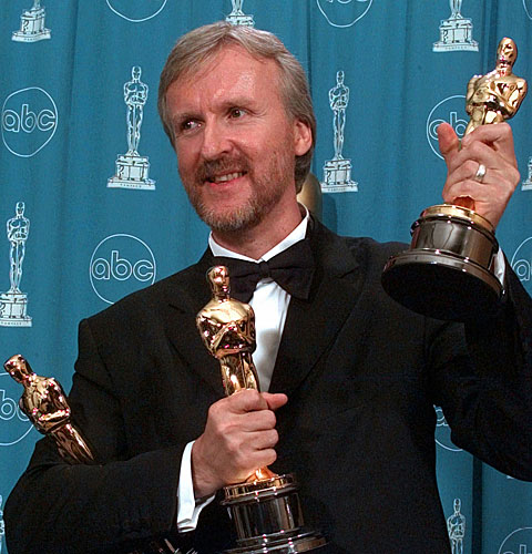 "James Cameron won three awards for ""Titanic,"" for director, best picture (as producer) and film editing."