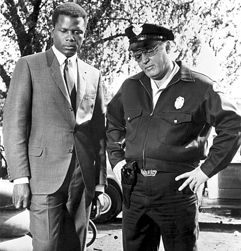 "Sidney Poitier and Rod Steiger in a scene from ""In the Heat of the Night"""