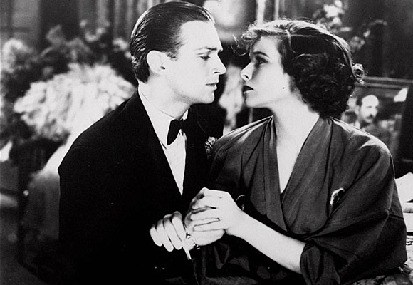 "Douglas Fairbanks Jr. with Katharine Hepburn in a scene from ""Morning Glory"""