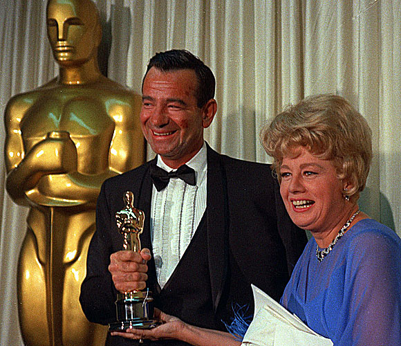 Walter Matthau with presenter Shelley Winters