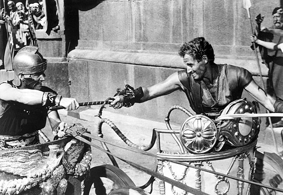 "Stephen Boyd, left, and Charlton Heston in a legendary chariot race from ""Ben-Hur."""
