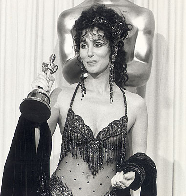 "Cher wins the lead actress Oscar for her performance in  ""Moonstruck."""