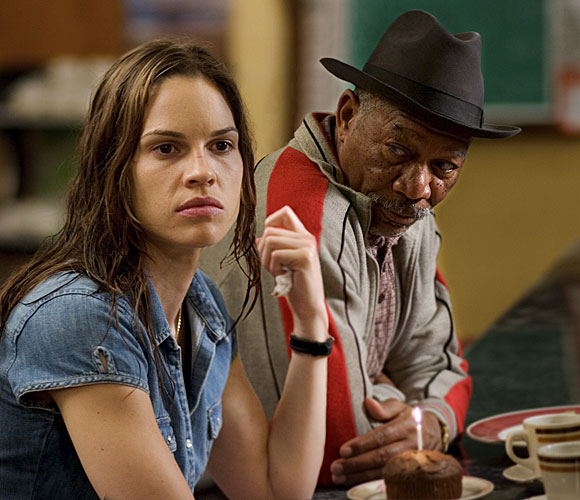 "Hilary Swank and Morgan Freeman in a scene from ""Million Dollar Baby"""