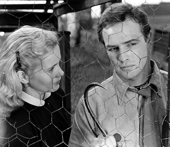 "Eva Marie Saint and Marlon Brando from a scene in ""On the Waterfront"""