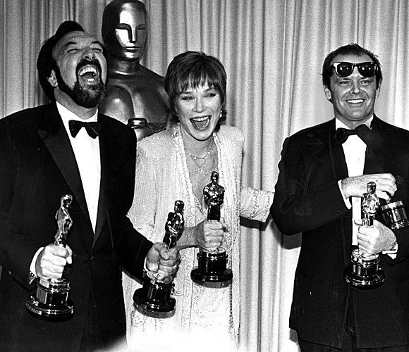 "James Brooks, left, Shirley MacLaine and Jack Nicholson won awards for ""Terms of Endearment."""