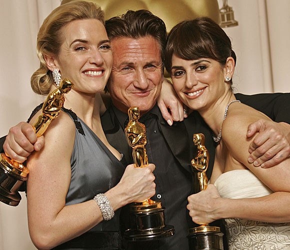 Kate Winslet, left, Sean Penn and Penélope Cruz