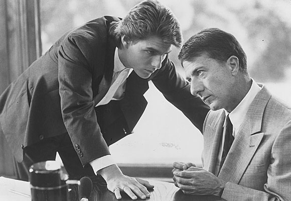 "Tom Cruise, left, and Dustin Hoffman in a scene from ""Rain Man"""