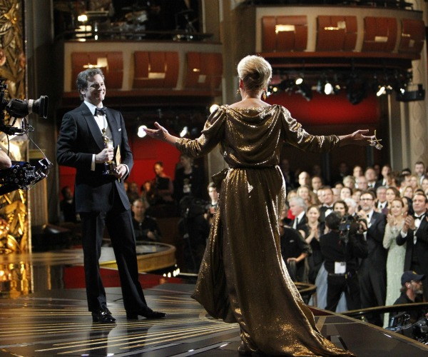 Colin Firth presents Meryl Streep with her first Oscar since 1983.