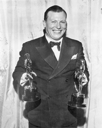 Harold Russell holds his two Oscars.