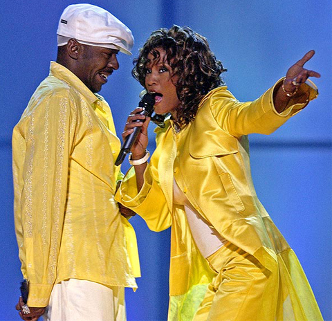 "Earlier in the year, Whitney Houston and Bobby Brown perform in the ""VH1 Divas"" duets show in Las Vegas."