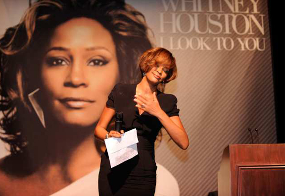 """I am humbled,"" Whitney Houston told the crowd of celebrities and industry bigwigs during the ""I Look To You"" CD Listening Party held at the Beverly Hilton Hotel."
