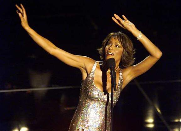 Whitney Houston performs at Arista Records 25th anniversary gala concert at the Shrine Auditorium.