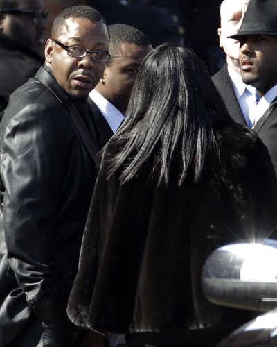 Bobby Brown attends Whitney Houston's funeral.