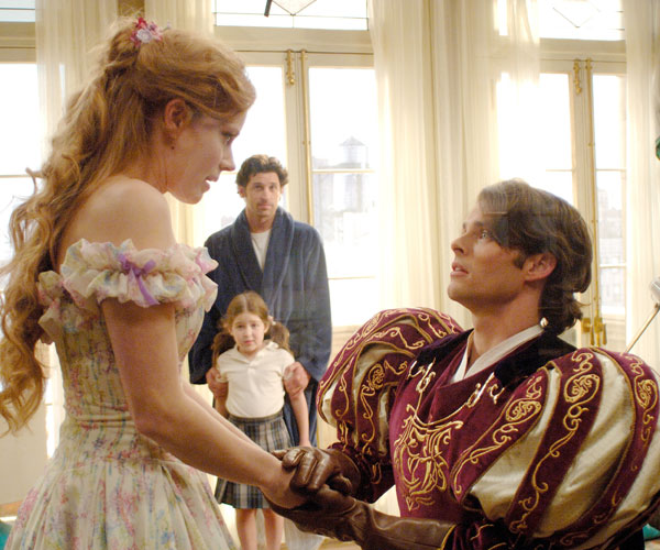 "Amy Adams, Patrick Dempsey, Rachel Covey and James Marsden in ""Enchanted."""