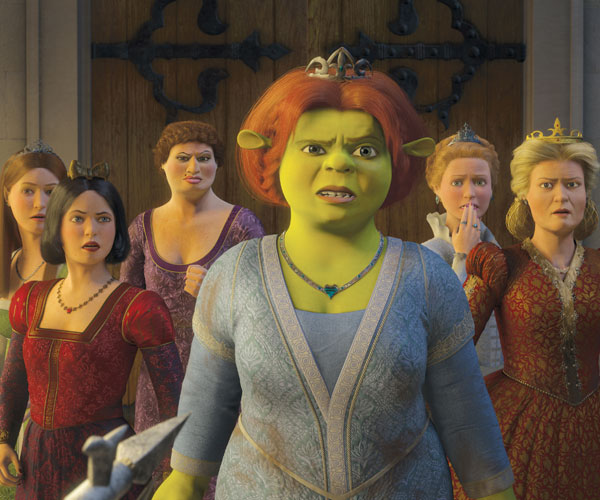 Princess Fiona (Cameron Diaz, center) along with (left to right) narcoleptic Sleeping Beauty (Cheri Oteri), prissy-but-sarcastic Snow White (Amy Poehler), Doris, the Ugly Stepsister (Larry King), obsessive-compulsive Cinderella (Amy Sedaris) and Queen Lillian (Julie Andrews).