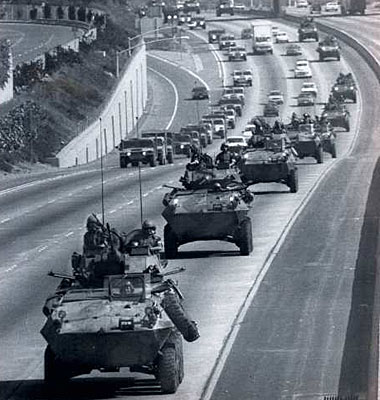 A Marine convoy from Camp Pendelton moves up the I-5. (May 1, 1992)