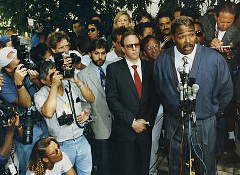 Rodney G. King meets with reporters. (May 1, 1992)