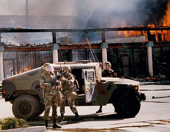 National Guard troops at Martin Luther King Boulevard and Vermont Avenue. (April 30, 1992)