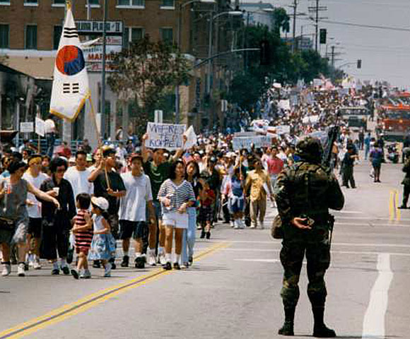 A peace march down 3rd Street.  (May 2, 1992)