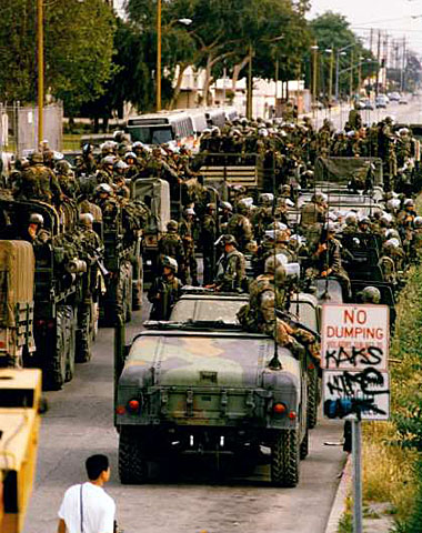 Marines at a staging area at Alameda and Elm streets in Compton. (May 3, 1992)
