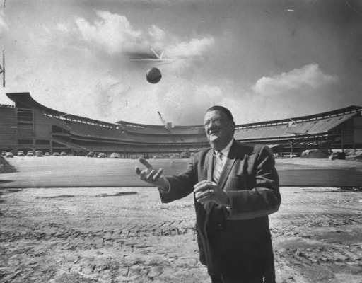 Walter O'Malley stands outside a nearly completed Dodger Stadium in 1962.