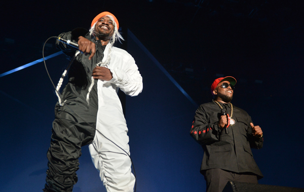 Andre 3000 and Big Boi of Outkast perform onstage.