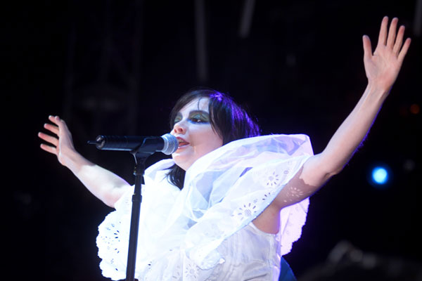 Bjork performs at Coachella on April 27, 2002.