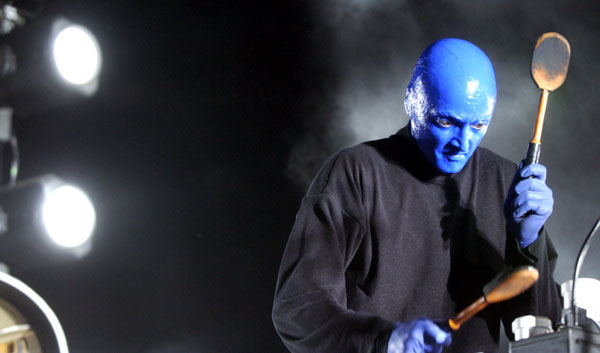 Blue Man Group performs April 26, 2003, at the Coachella Valley Music and Arts Festival.