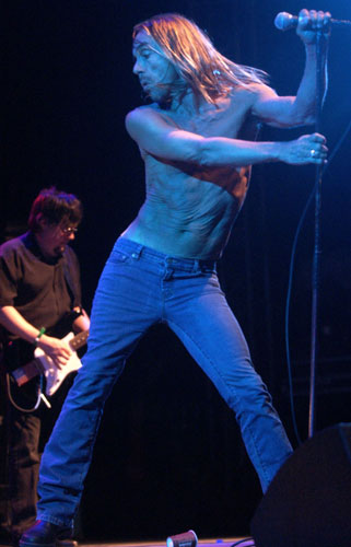 Iggy Pop goes shirtless on April 27, 2003.