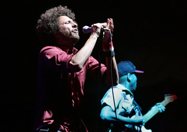 Zack de la Rocha of Rage Against the Machine sings April 29, 2007.