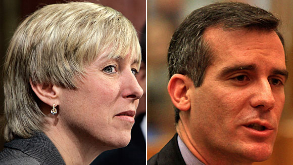 Mayoral hopefuls Wendy Greuel, left, and Eric Garcetti, right, pursued dueling investigations of LAFD.