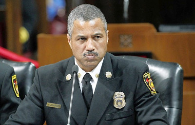 Los Angeles Fire Chief Brian Cummings at the nearly two-hour hearing.