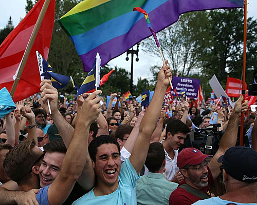 Same-sex marriage supporters rejoice after the U.S Supreme Court hands down a ruling regarding same-sex marriage.