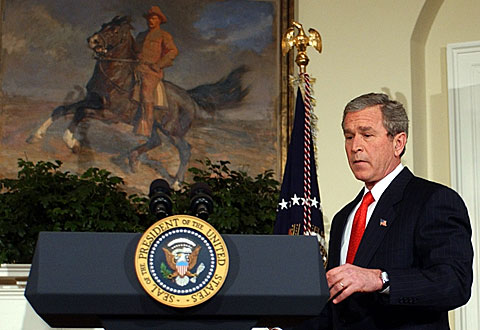 "President Bush calls a ban on same-sex marriages a matter of ""national importance."""