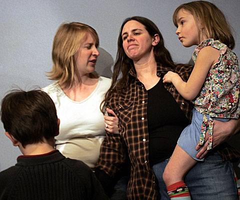 Amy Zimmerman, left, and Tanya Wexler of New York with their children Jerry and Ella.