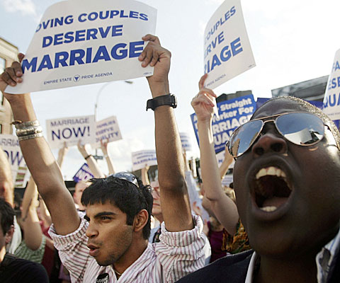 Gay-rights activists assemble in New York City the day that the state's highest court rules against gay marriage.