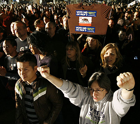 Thousands gather in West Hollywood on Wednesday night to voice anger over passage of Proposition 8.