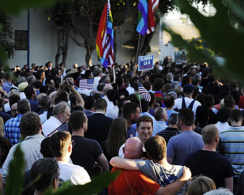 A rally in West Hollywood after a decision by U.S. Chief Judge Vaughn R. Walker overturned Proposition 8.
