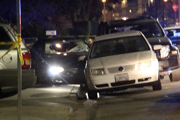 A car window is shot out after a series of shootings near the UC Santa Barbara campus.