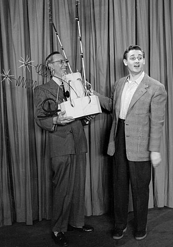 "In this skit from ""The Alan Young Show,"" Charles Lane, left, and Alan Young present an electronic ice-cube maker."