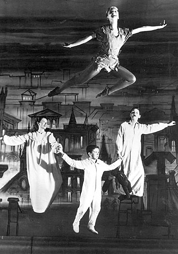 "Mary Martin, top, soars as Peter Pan in the initial live television production of ""Peter Pan."""