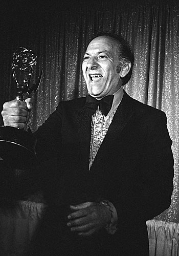 "Jack Klugman holds his performance Emmy, earned for his role on ""The Odd Couple."""