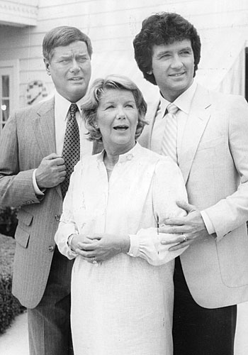 "Barbara Bel Geddes and her TV sons Larry Hagman, left, and Patrick Duffy on the set of ""Dallas"" in 1981."