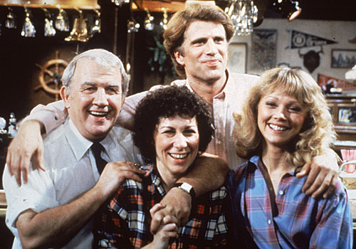 "The cast of the NBC comedy series ""Cheers."""