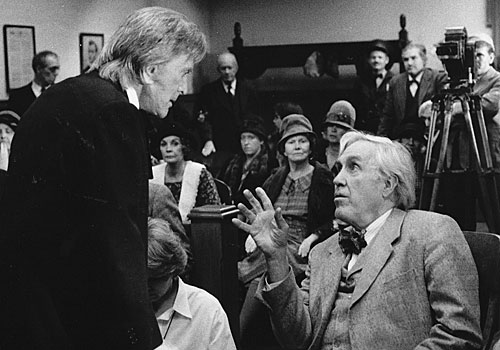 "Kirk Douglas, left, and Jason Robards on the set of ""Inherit the Wind."""