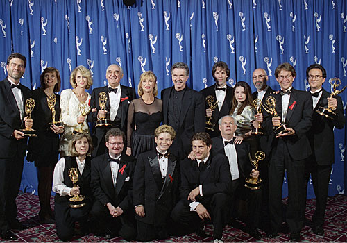 "The cast of ""Picket Fences"" backstage at the Emmys."